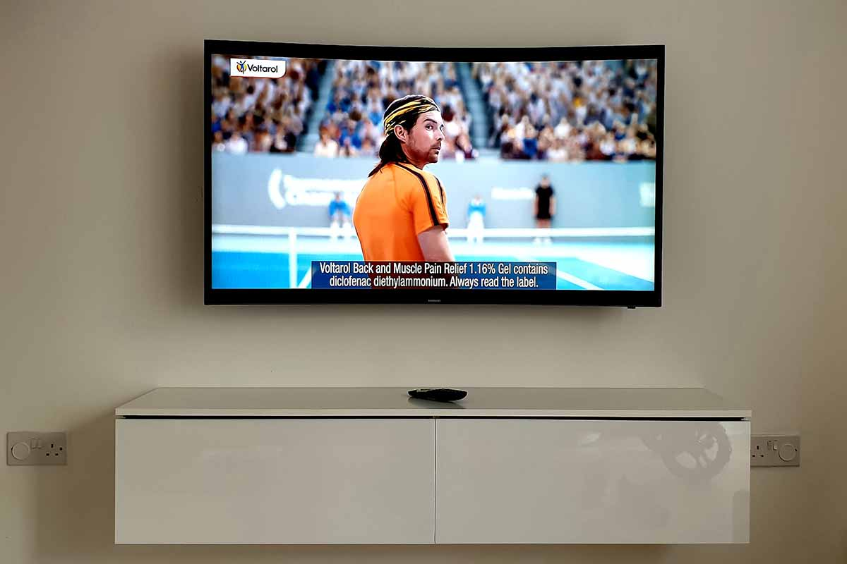 Curved TV Mounted on Wall
